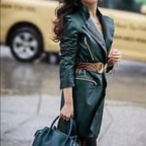 Zara Woman NWT dark green leather lambskin coat.